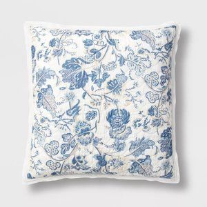 French Country Voile Pillow Sham Blue Floral NEW